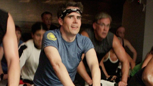 PHOTO: ABC News' Jeremy Hubbard rides at his first SoulCycle class in New York City.