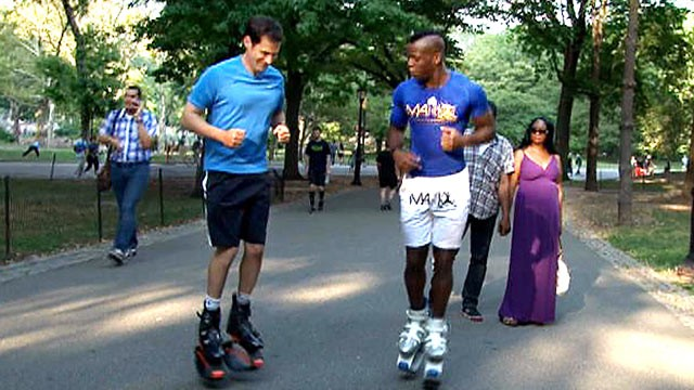 PHOTO: ABC's John Berman tests out Kangoo Jumps, special boots with a spring attached to them that lets you bounce during your workout routine.