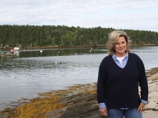 """Nightline"" co-anchor Cynthia McFadden on the shores of Sebasco Harbor in Maine."