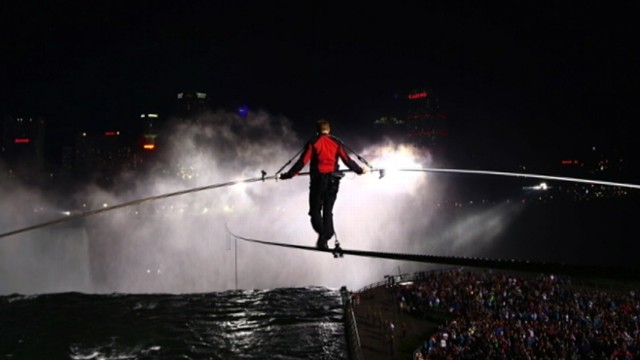 "VIDEO: ""Nightlines"" Bill Weir retraces stuntmans historic walk over Niagara Falls."