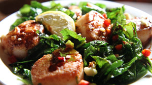 Sea Scallops With Crispy Fried Spinach