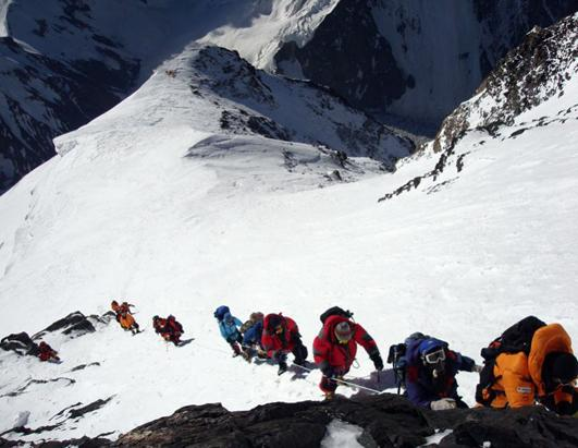 PHOTOS 29 Climbers Attempt K2  K2 Bottleneck