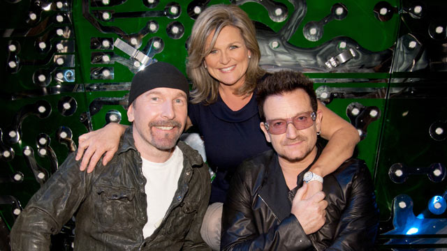 PHOTO: U2s Bono and The Edge talk to ABC News Cynthia McFadden about the open on their highly anticipated musical Spiderman, Turn Off the Dark for NIGHTLINE airing FRIDAY, MAY 20 (11:35pm, ET) on the ABC Television Network.