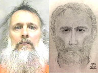 PHOTO: Charles Severance, left, was arrested 2014 for a weapons charge, Friday, March 14, 2014. | A police sketch of suspected serial killer in Alexandria, Va.