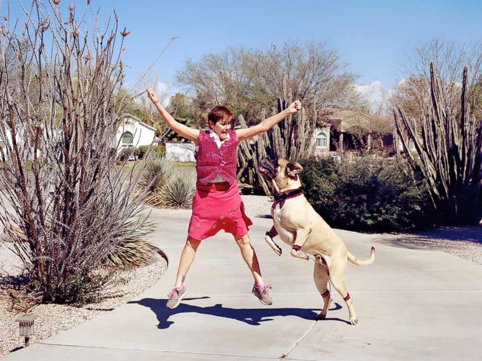 PHOTO:Stephanie dances with her dog, Charleston, in Phoenix, Ariz.