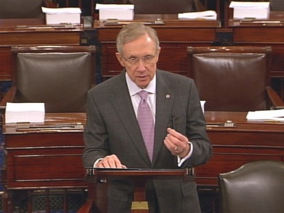 Vdieo of Senators Reid and McConnell on senator floor debating whether Wall Street reform bill should be brought up for debate.