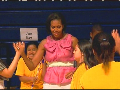 VIDEO of Michelle Obama continuing her ?Let?s Move? campaign to combat childhood obesity