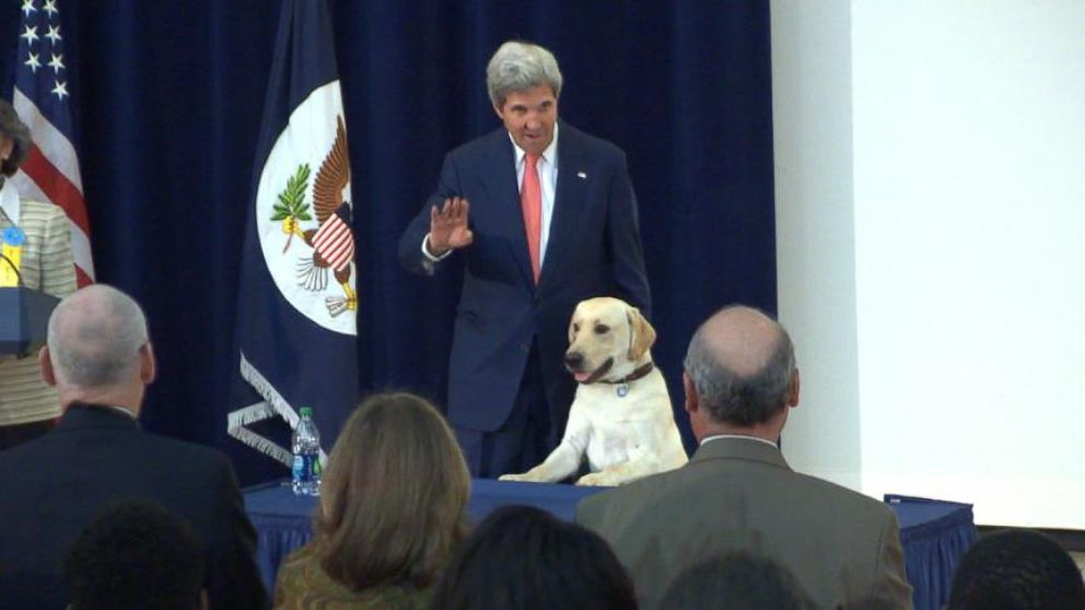 VIDEO: Secretary John Kerry Brings His Dog to Work