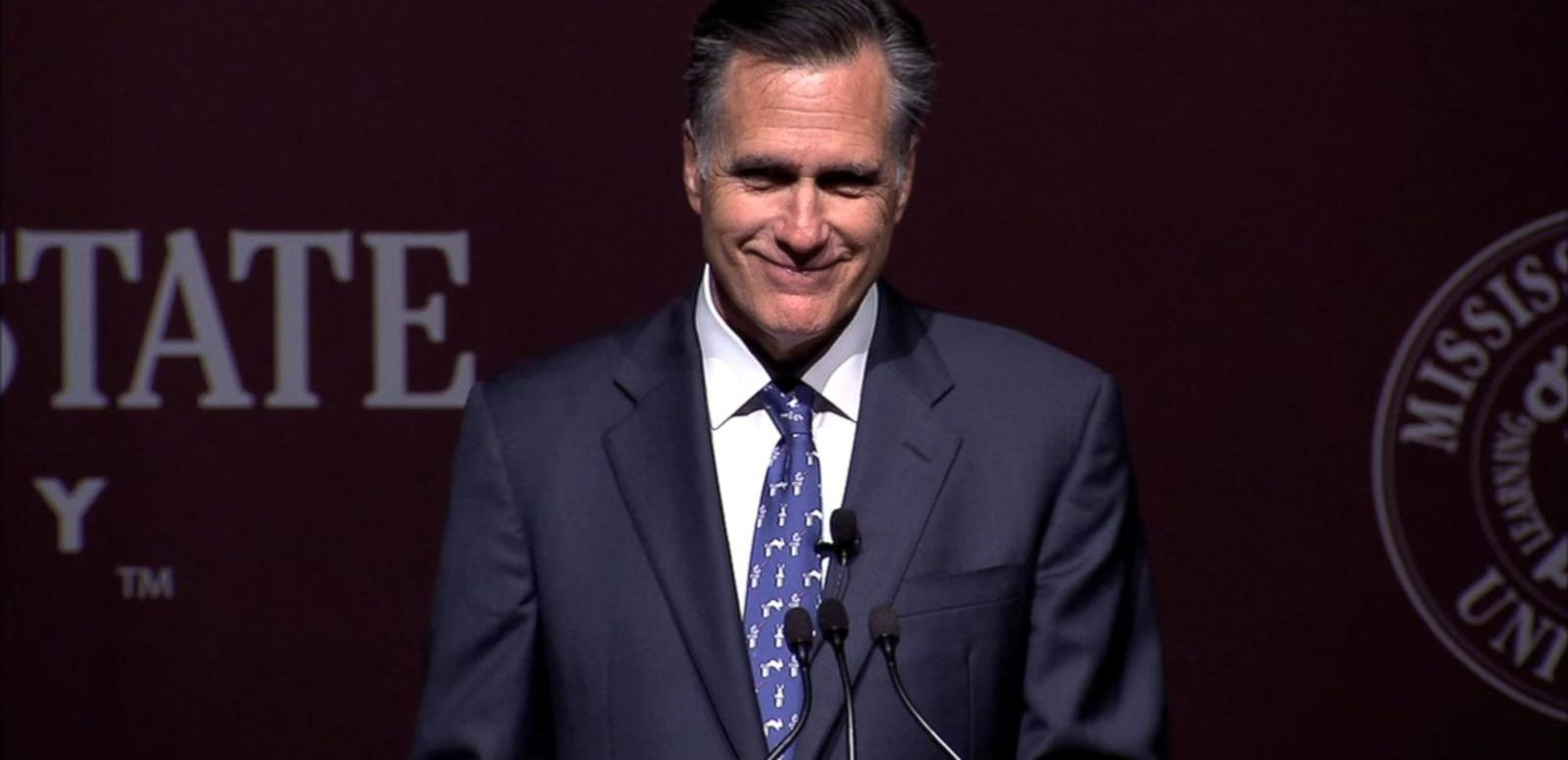 VIDEO: The former Republican presidential nominee cracks jokes in speech to Mississippi State University.