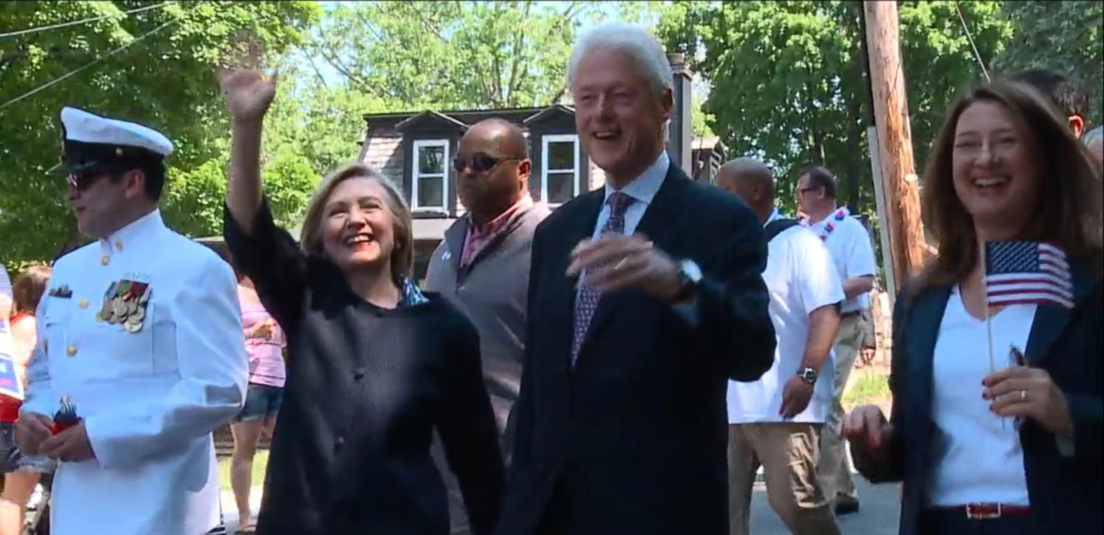 VIDEO: Presidential candidate Hillary Clinton walked in the New Castle Memorial Day Parade in Chappaqua, N.Y., alongside her husband.