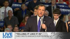 VIDEO: Returns to his New Jersey roots to launch 2016 presidential campaign.
