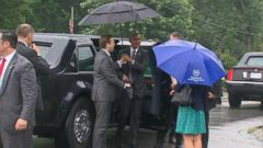 VIDEO: Oops! Umbrella Closes on President Obamas Head