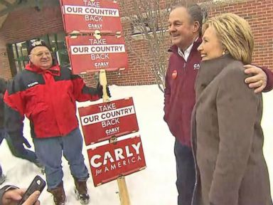 Watch:  Hillary Clinton runs into Carly Fiorinas Husband at New Hampshire Polling Place