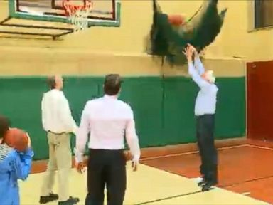 Watch:  Sanders Shoots Hoops to Celebrate Victory