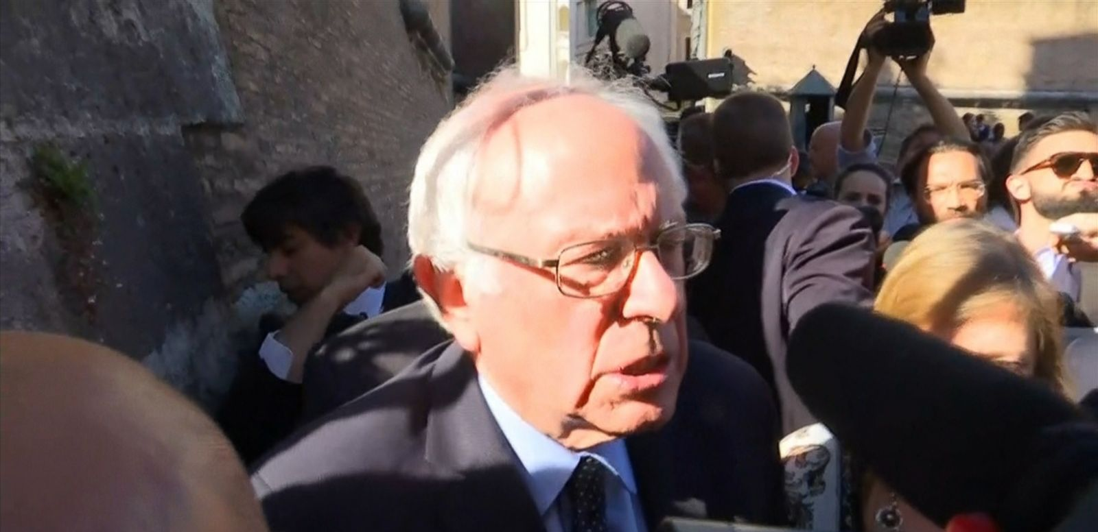 VIDEO: The Democratic presidential candidate speaks with reporters during his trip to the Vatican.