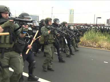 Watch:  Police Confront Protesters After Trump Rally in San Diego