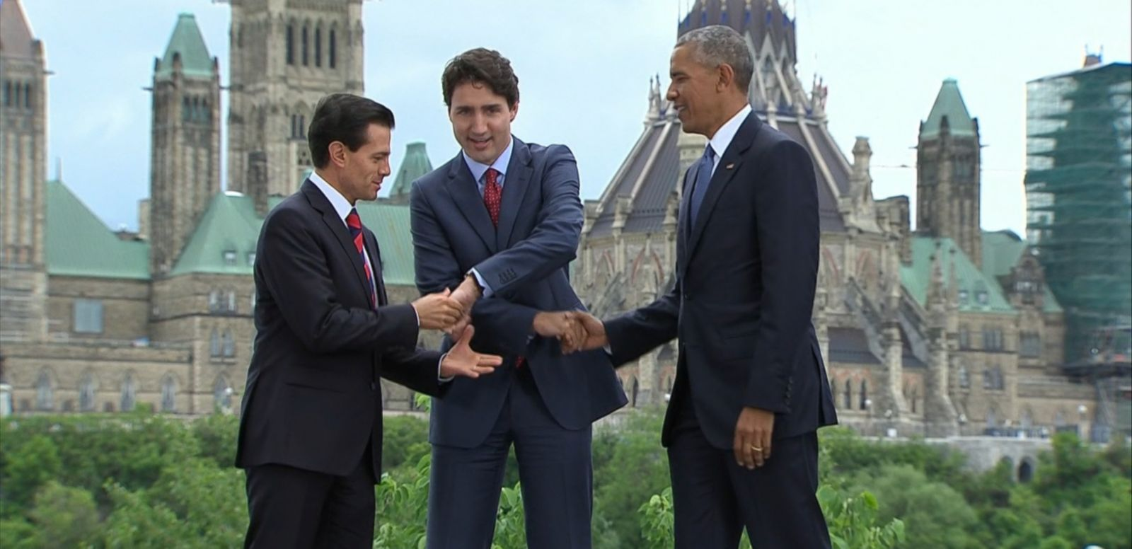 VIDEO: The handshake happened between President Obama, Canadian Prime Minister Justin Trudeau and Mexican President Enrique Pena Nieto.