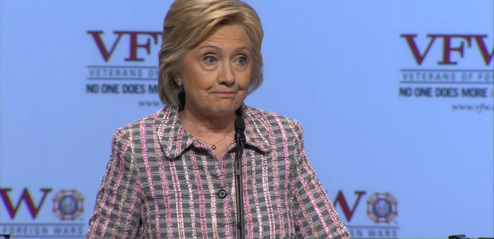 She spoke at a Veterans of Foreign Wars convention on Monday.