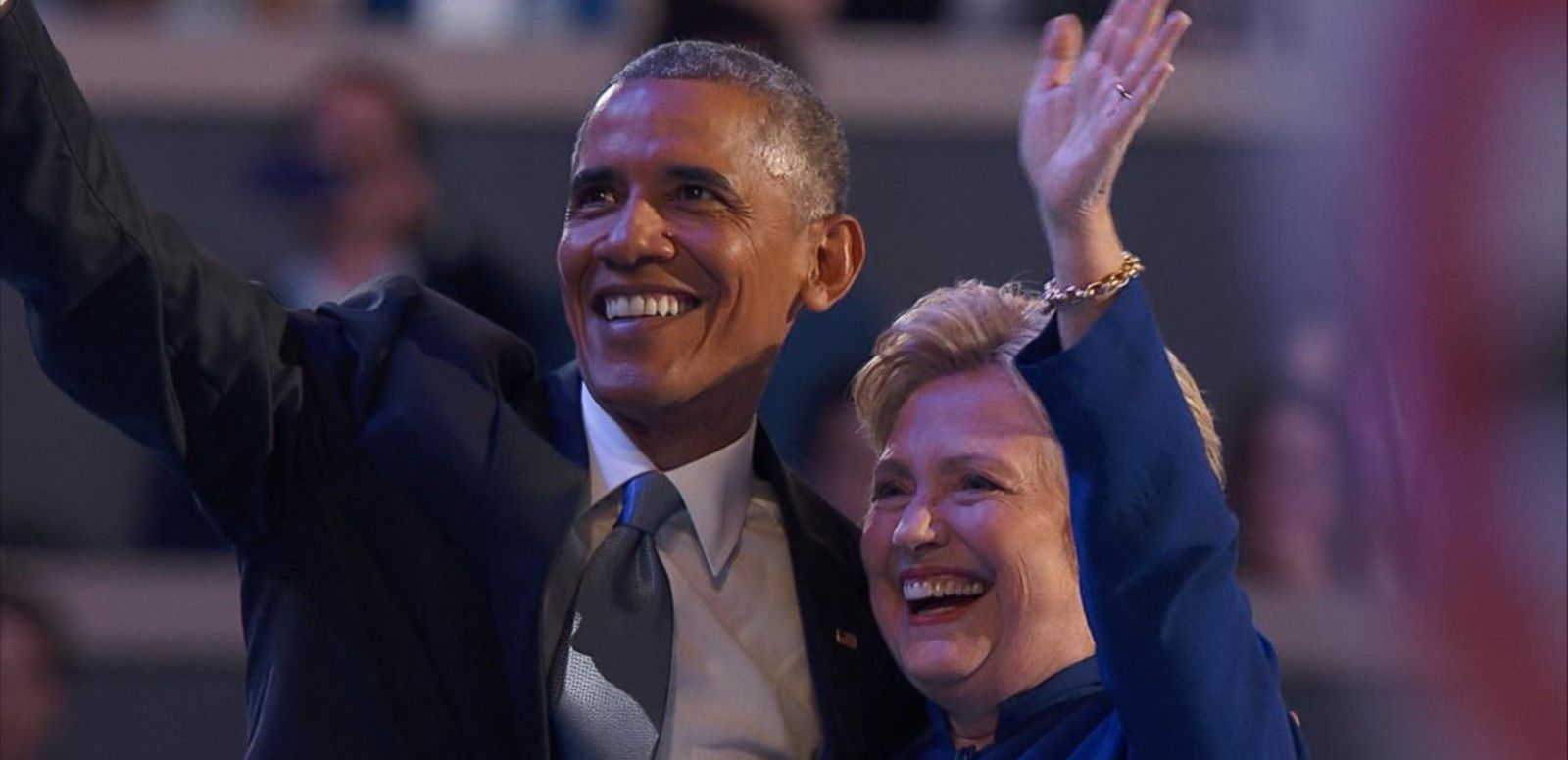 VIDEO: Hillary Clinton Joins President Obama on Stage at the DNC