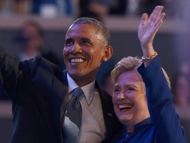 WATCH:  Hillary Clinton Joins President Obama on Stage at the DNC