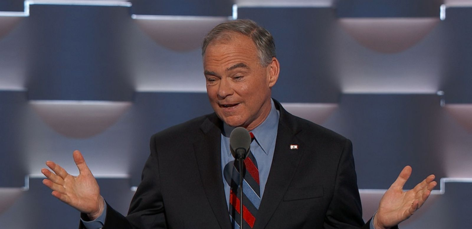 Democratic vice presidential candidate, Sen. Tim Kaine, flexed his dad-joke muscles during the Democratic National Convention.
