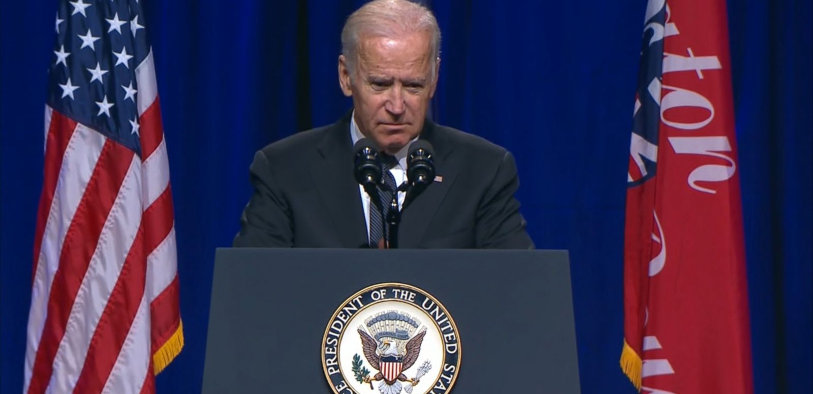 Joe Biden delivered a somber address to the families of the three police officers shot and killed - and another fighting for his life - in Baton Rouge, Louisiana.