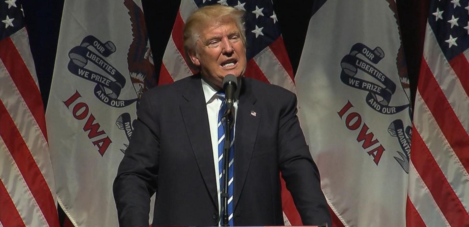 Trump spoke to supporters today in Davenport, Iowa.