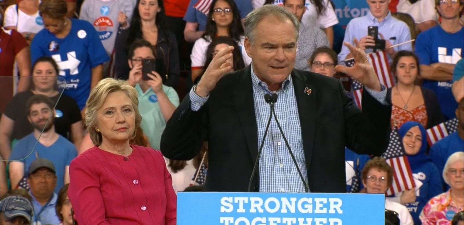 VIDEO: Sen. Tim Kaine warmed up the crowd for Hillary Clinton and attacked Trump at the same time.
