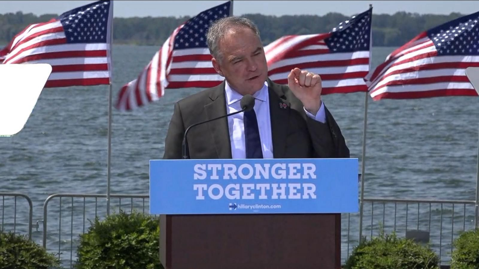 """Something strange is going on,"" said Tim Kaine, Clinton's running mate."