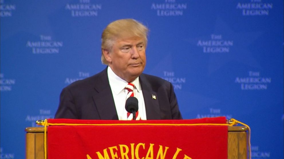 "Donald Trump, at the American Legion convention, called the groups members ""incredible people,"" and complimented them for sharing his focus on ""America First."""