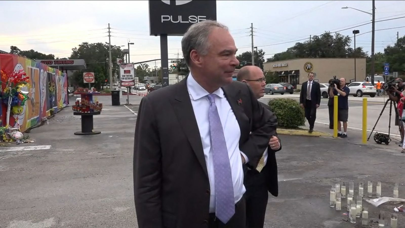 VIDEO: Hillary Clinton's running mate Tim Kaine made an emotional visit to the Pulse nightclub, the site of the Orlando massacre, Monday along with former Congresswoman Gabby Giffords, who was gravely injured in a 2011 shooting.
