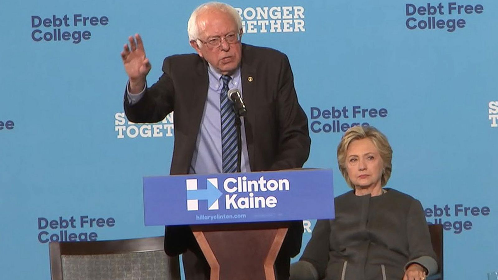 VIDEO: Bernie Sanders, Hillary Clinton Promote 'Debt Free College' Plan