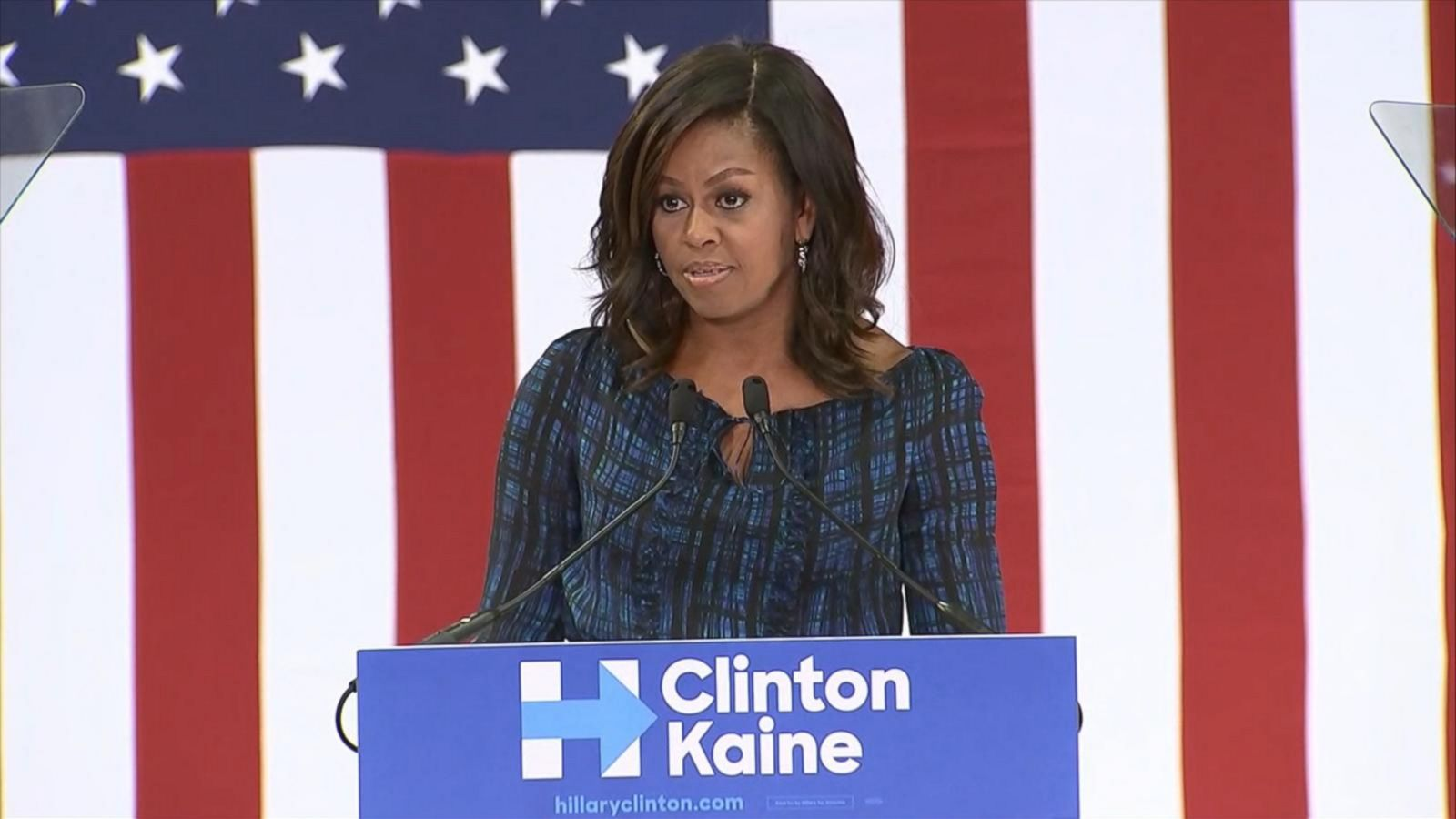 The first lady returns to the campaign trail for the Democratic presidential nominee.
