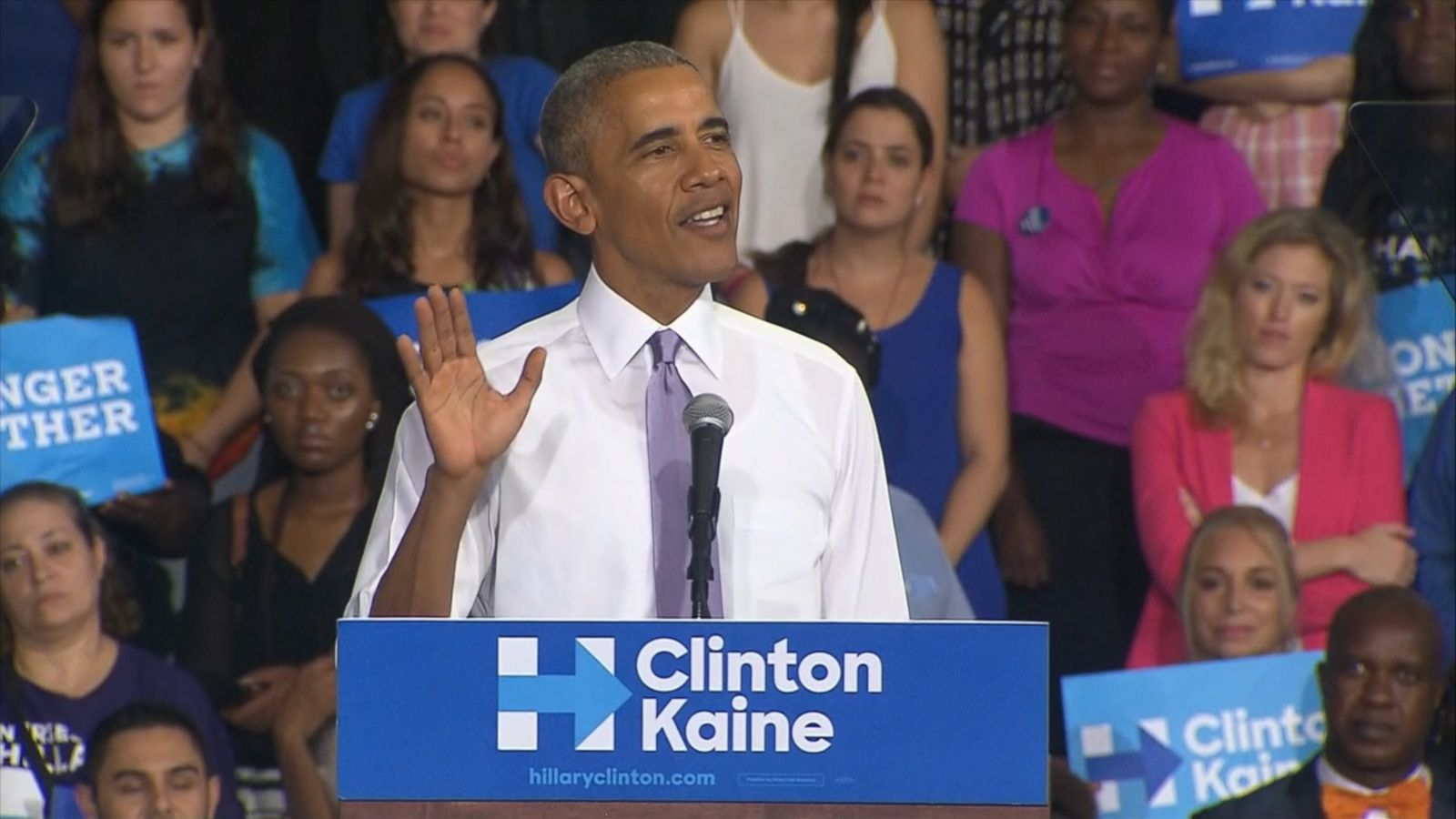 President Barack Obama was in Miami, Florida to stump for Hillary Clinton in that critical battleground state this afternoon.