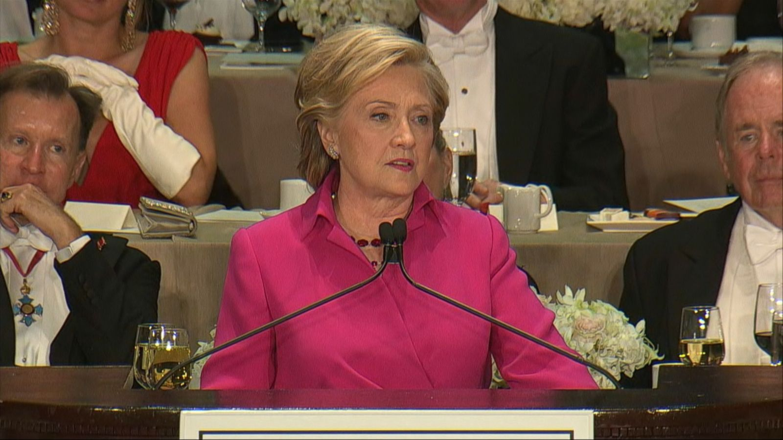 VIDEO: Even though Clinton and Trump seemed displeased at times with some of the remarks, the pair did shakes hands at the end of the dinner, which is hosted by the Archbishop of New York, Cardinal Timothy Dolan.