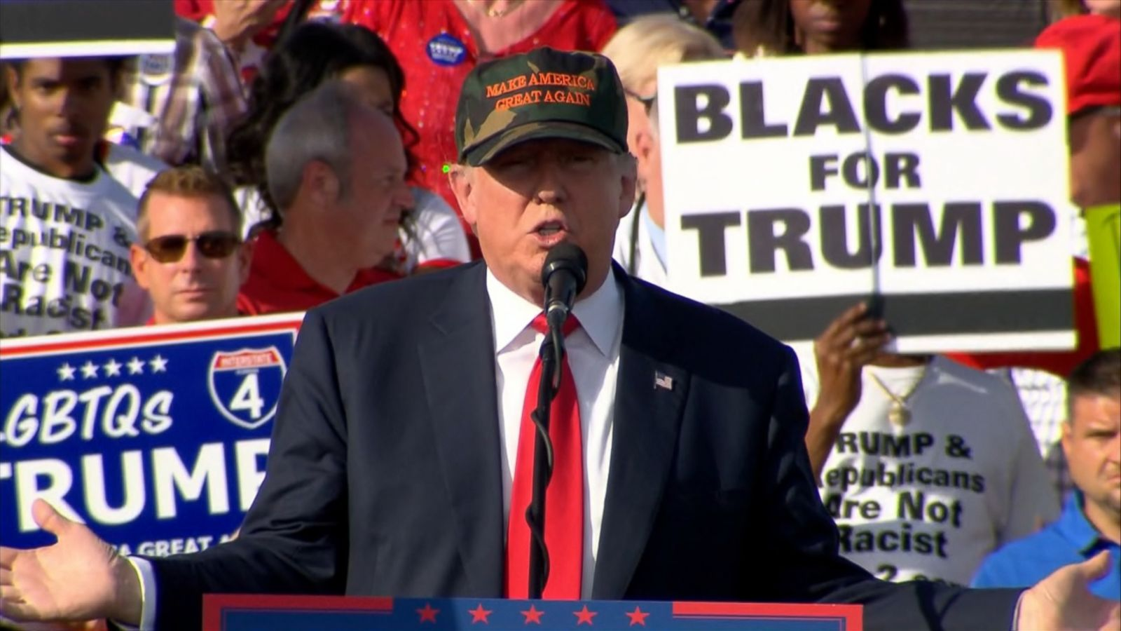 VIDEO: As Donald Trump campaigned in central Florida, he made his usual appeal to African-Americans, painting a grim and partially inaccurate portrait of black communities.