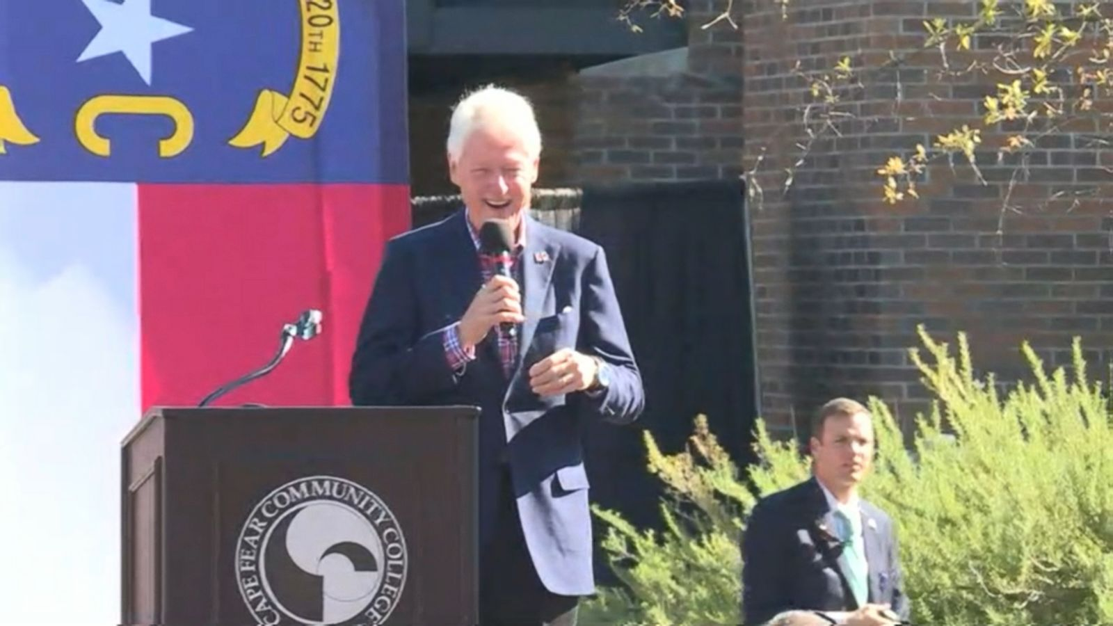 """You don't have to worry because your candidate doesn't pay taxes,"" Bill Clinton retorted to a Donald Trump supporter in his audience during a campaign stop in Wilmington, North Carolina."