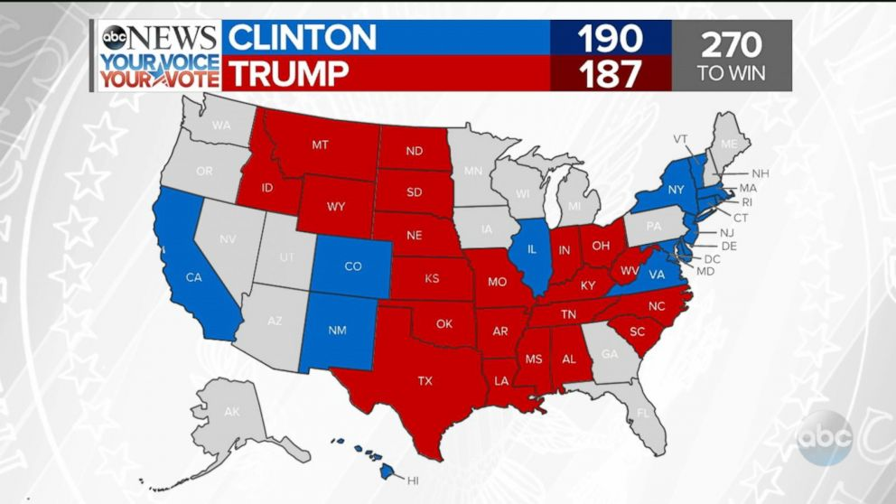 Election Results North Carolina Video ABC News - Us map voting results 2016
