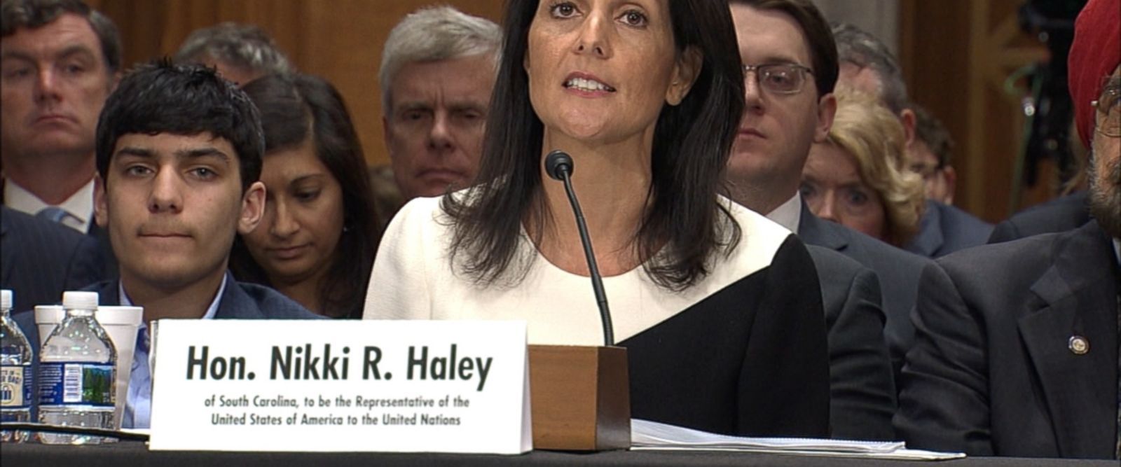 Testifying in front of the Senate Foreign Relations Committee, Gov. Nikki Haley said she believes Russia committed war crimes in Syria when it indiscriminately bombed hospitals in Aleppo.