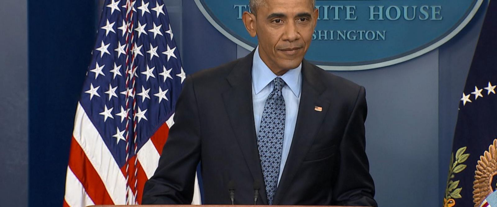 Obama addresses reporters in the Brady Press Briefing Room.