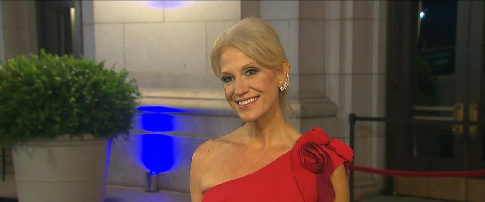 Conway spoke to reporters before entering an inauguration-eve candlelight dinner.