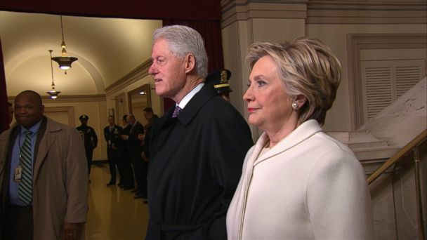 VIDEO: The Democratic candidate for president stood beside her husband at the U.S. Capitol.