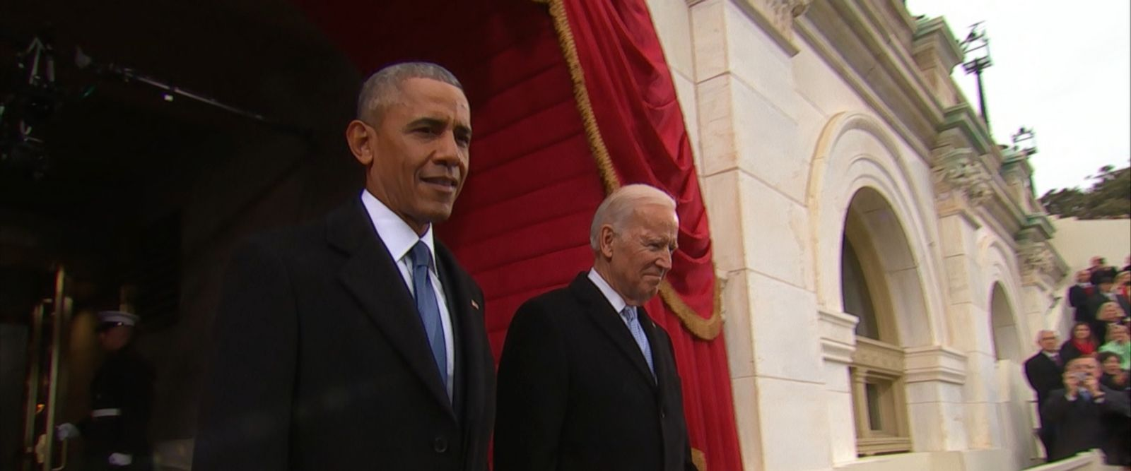 VIDEO: The president descended to the inauguration stage with Vice President Joe Biden.