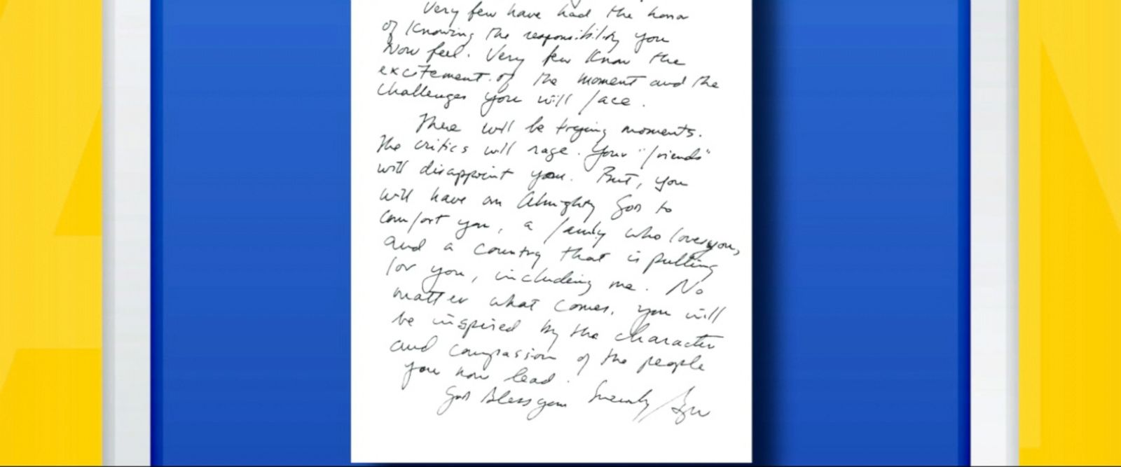 VIDEO: As Barack Obama prepares to hand the baton to Donald Trump, ABC News has obtained an exclusive look at the missive he received from his predecessor, as well as the note from Bill Clinton to George W. Bush in 2001.