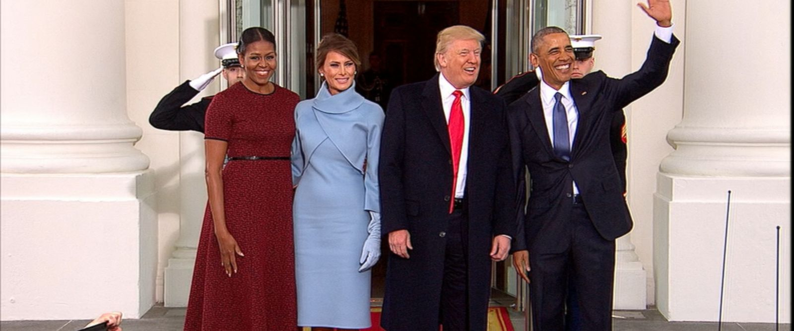 VIDEO: Barack Obama and the first lady exchanged pleasantries with Donald and Melania Trump at the entrance of 1600 Pennsylvania Avenue.
