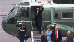 After President Donald Trumps inauguration ceremony, former President Obama waved from the steps of Marine One before departing with Michelle Obama for Joint Base Andrews in Maryland.