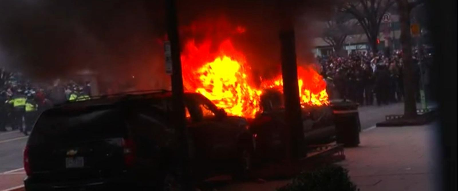 VIDEO: Police Keep Protesters Back After Vehicle Fire