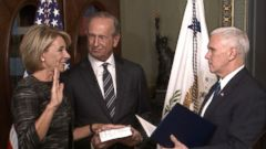 The new Secretary of Education Betsy DeVos was sworn in by Vice President Mike Pence today, just hours after he had to cast a vote to break a tie in the Senate for her confirmation.