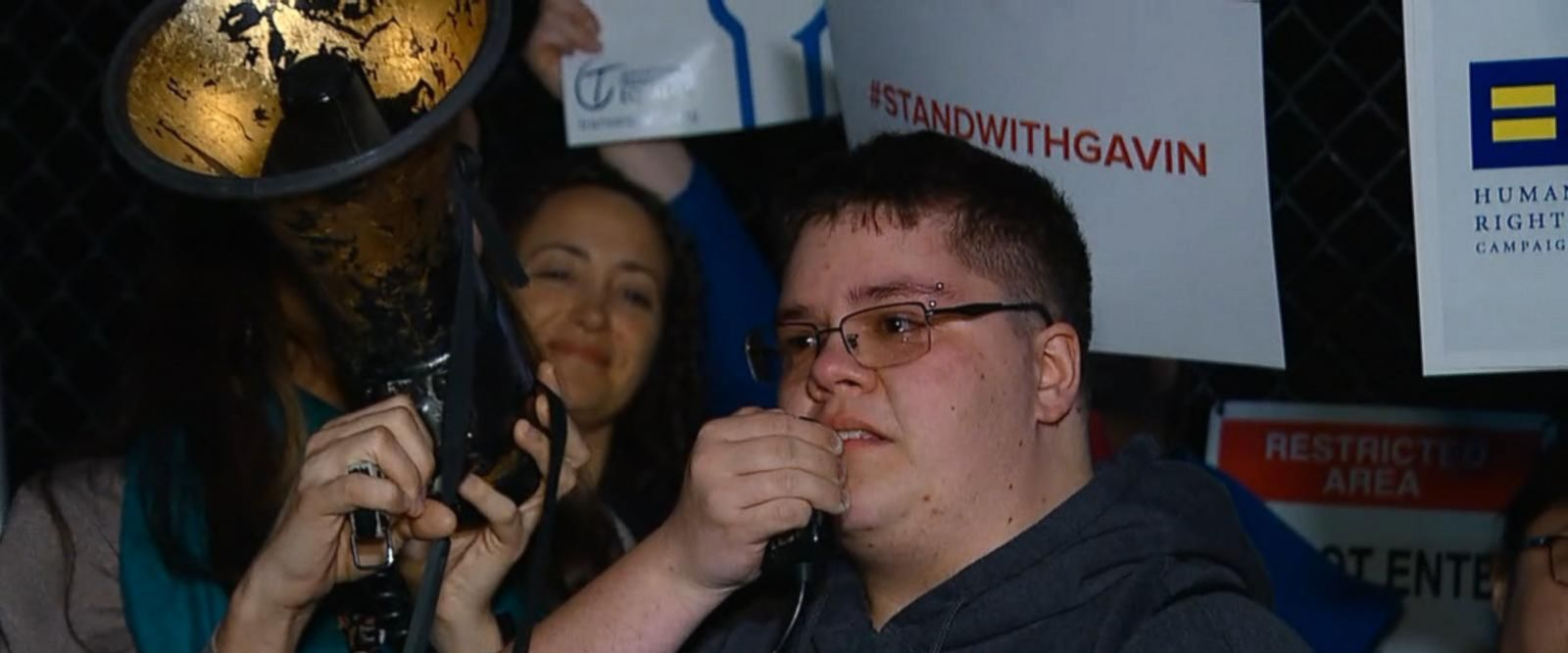"During a rally outside the White House, an emotional Gavin Grimm said, ""I hope that the nation as a whole moves towards love and moves towards equality and moves towards acceptance in the future."""