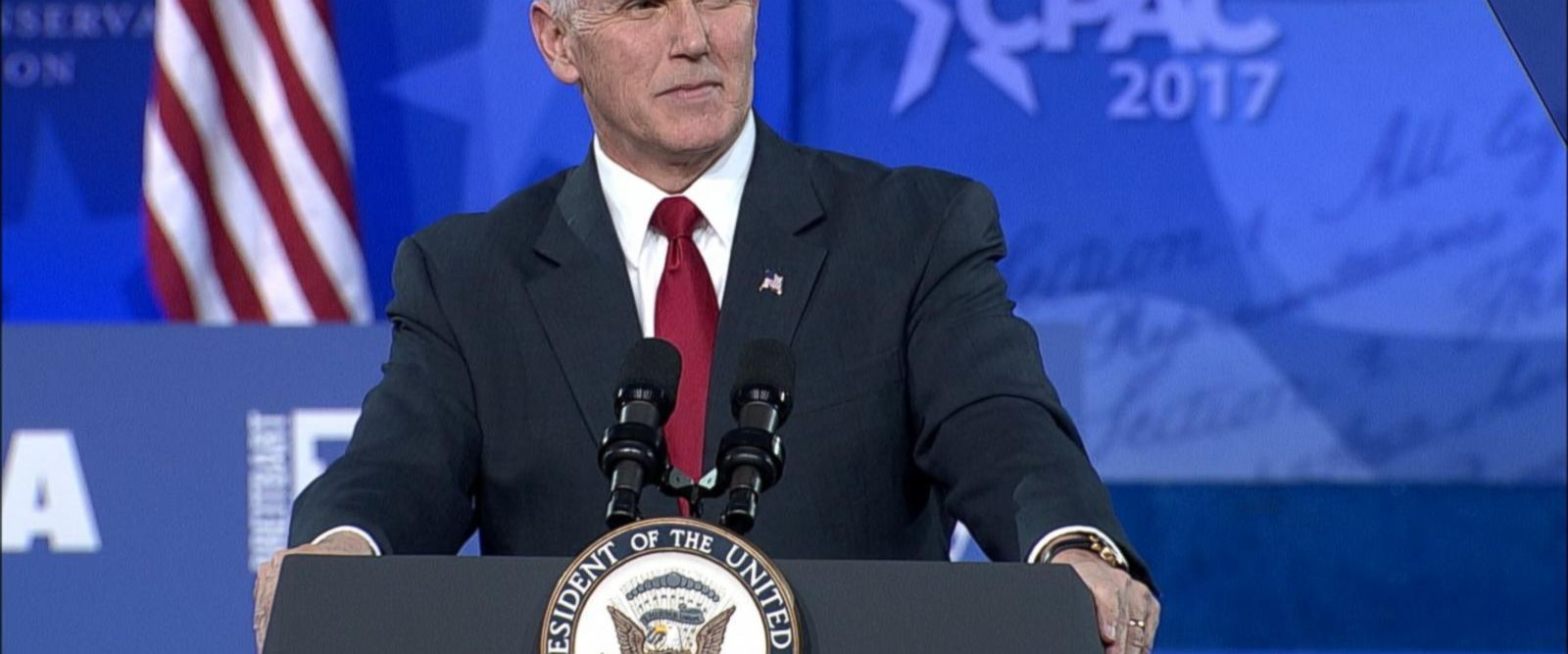 "The vice president took jabs at the media tonight and while discussing health care, Pence told the crowd ""America's Obamacare nightmare is about to end."""